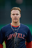 Lowell Spinners Nick Decker (21) during a NY-Penn League game against the Batavia Muckdogs on July 10, 2019 at Dwyer Stadium in Batavia, New York.  Batavia defeated Lowell 8-6.  (Mike Janes/Four Seam Images)