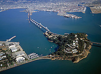 aerial photograph of Yerba Buena Island San Francisco Oakland Bay Bridge