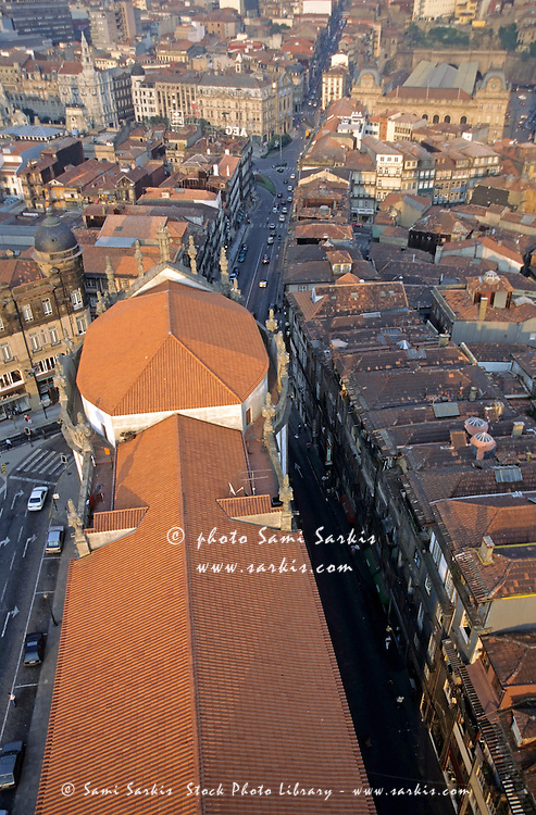 Rooftops of the city buildings seen from the tower of Clérigos Church, Porto, Portugal.