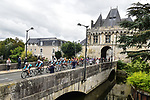The peloton ride through Vendome during Paris-Tours 2020, running 213km from Chartres to Tours, France. 11th October 2020.<br /> Picture: ASO/Gautier Demouveaux | Cyclefile<br /> All photos usage must carry mandatory copyright credit (© Cyclefile | ASO/Gautier Demouveaux)