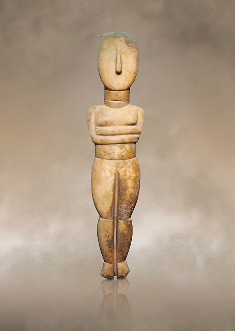 Female Cycladic Canonical type, Spedos variety female figurine statuette. Early Cycladic Period II from Syros phase (2800-2300 BC). Museum of Cycladic Art Athens, cat no 282