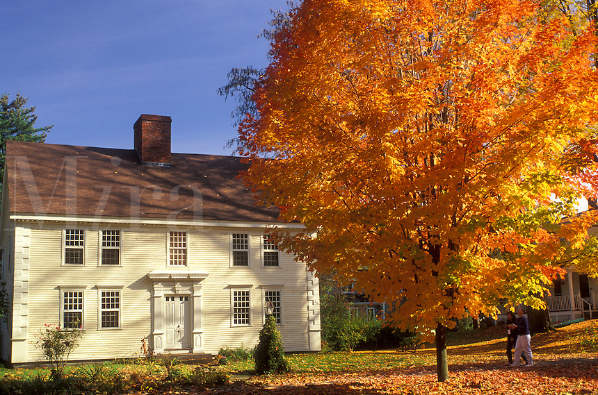 Deerfield, Massachusetts, MA, The Connecticut River Valley, Colonial home in Historic Deerfield in the autumn.