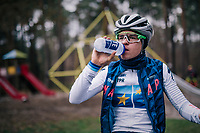 Many of the Belgian (and also foreign) pro cyclocross riders usually have a mid-week (technical) training session (mostly on wednesdays) in the 'Zwarte Water' forrest situated in the Belgian 'Kempen' area.<br /> The forrest has a dedicated cyclocross parcours and is, without a doubt, THE cyclocross training hotspot in the world.<br /> <br /> European CX Champion Tom Pidcock (GBR) is here too to further craft his skills<br /> <br /> Kasterlee, december 2018