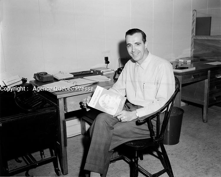Real Bedard, 30 juin 1958<br /> <br /> <br /> PHOTO :  Agence Quebec Presse