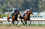 ARCADIA, CA  APRIL 3: #3 Soothsay, ridden by Flavien Prat, and #5 Beautiful Gift, ridden by John Velazquez, in the stretch of the Santa Anita Oaks (Grade ll) on April 3, 2021 at Santa Anita Park, in Arcadia, CA. (Photo by Casey Phillips/ Eclipse Sportswire/ CSM)
