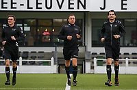Match referee (M) and the assistant referees pictured during the warm up before a female soccer game between Oud Heverlee Leuven and Femina White Star Woluwe  on the 5 th matchday of the 2020 - 2021 season of Belgian Womens Super League , Sunday 18 th of October 2020  in Heverlee , Belgium . PHOTO SPORTPIX.BE   SPP   SEVIL OKTEM