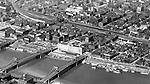 Pittsburgh PA:  Aerial view of two of the sister bridges, 7th, and 9th streets and North Side.