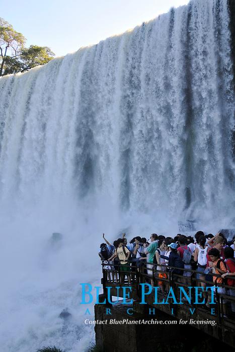 People observe Salto San Martin, Iguassu falls, Iguazu national park, Puerto Iguazu, Argentina