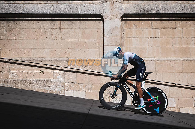 Israel Start-Up Nation riders recon Stage 1 of La Vuelta d'Espana 2021, a 7.1km individual time trial around Burgos, Spain. 14th August 2021. <br /> Picture: Unipublic/Charly Lopez | Cyclefile<br /> <br /> All photos usage must carry mandatory copyright credit (© Cyclefile | Unipublic/Charly Lopez)