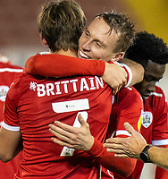 21st November 2020, Oakwell Stadium, Barnsley, Yorkshire, England; English Football League Championship Football, Barnsley FC versus Nottingham Forest; Cauley Woodrow of Barnsley  celebrates with Callum Brittain of Barnsley  after making it 2-0 in min 88