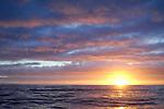 Sunrise at sea, South of Faroe Islands, Atlantic Ocean