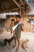 Roraima, Brazil. Macuxi woman with a baby in a sling with two skinny dogs in front of an adobe wall.