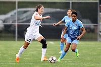 Piscataway, NJ - Sunday April 30, 2017: Yael Averbuch, Maya Hayes during a regular season National Women's Soccer League (NWSL) match between Sky Blue FC and FC Kansas City at Yurcak Field.