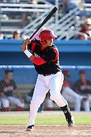 Batavia Muckdogs catcher Juan Castillo #35 during a game against the Auburn Doubledays at Dwyer Stadium on July 17, 2011 in Batavia, New York.  Batavia defeated Auburn 8-3.  (Mike Janes/Four Seam Images)