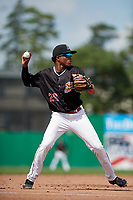 Batavia Muckdogs third baseman Ronal Reynoso (26) throws to first base during a game against the Auburn Doubledays on September 1, 2018 at Dwyer Stadium in Batavia, New York.  Auburn defeated Batavia 10-5.  (Mike Janes/Four Seam Images)