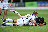 Matty Fozard of London Broncos goes over the whitewash to score his try during the Betfred Championship match between London Broncos and Newcastle Thunder at The Rock, Rosslyn Park, London, England on 9 May 2021. Photo by Liam McAvoy.