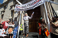 """Dame Vivienne Westwood (English fashion designer, businesswoman and activist; largely responsible for bringing modern punk and new wave fashions into the mainstream, DBE, RDI).<br /> <br /> London, 08/05/2016. Today, """"Campaign Against Climate Change"""" held a demonstration to protest against the policies of the British Conservative Government in tackling climate change and to accuse it of not supporting enough clean energy technology. Then protesters, activist and members of the public marched backward from Trafalgar Square to the Department of Energy and Climate Change, Downing Street, Department of Health (Opposite the Treasury). From the organisers Facebook page: <<No more UK backtracking on climate! Since May 2015 clean energy technology has been sidelined in favour of a dash for gas, insulation cut and fracking, roads and runways pushed through despite strong local opposition. So what better way to mark the government's one year anniversary than to march - backwards - down Whitehall? A creative and colourful protest that will make a serious point: we're running out of time to act on climate change, and we can't afford to go backwards. […]>>. The demonstration was supported by: Art Not Oil, Biofuelwatch, Campaign for Better Transport, Client Earth, Climate Revolution, Fuel Poverty Action Group, Global Justice Now, Greenpeace, HACAN, Plane Stupid, Reclaim the Power, Solar Trade Association, Talk Fracking, Time to Cycle, War on Want, The Truth about Zane.<br /> <br /> For more information please click here: https://www.facebook.com/events/1694984727439786/?active_tab=highlights & http://www.campaigncc.org/goingbackwards"""