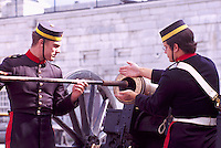 Firing of Gun (Cannon) Ceremony, Fort Henry National Historic Site (UNESCO World Heritage Site) (built 1832 to 1837), Kingston, Ontario, Canada.  (Costumed Interpreters in 1830's British Soldier Uniform)