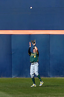 Scott Heineman #6 of the Oregon Ducks waits under a fly ball during a baseball game against the Cal State Fullerton Titans at Goodwin Field on March 3, 2013 in Fullerton, California. (Larry Goren/Four Seam Images)