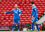 Motherwell v St Johnstone.....16.04.11  Scottish Cup Semi-Final.Jody Morris and Kevin Moon talk after conceding the third goal.Picture by Graeme Hart..Copyright Perthshire Picture Agency.Tel: 01738 623350  Mobile: 07990 594431