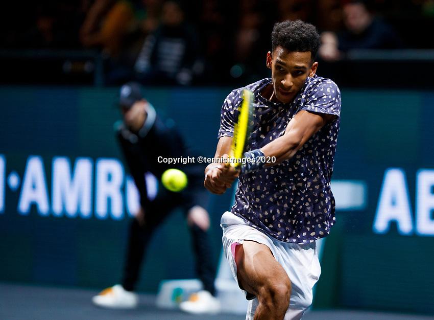 Rotterdam, The Netherlands, 11 Februari 2020, ABNAMRO World Tennis Tournament, Ahoy, <br /> Felix Auger-Aliassime (CAN), Jan-Lennard Struff (GER).<br /> Photo: www.tennisimages.com