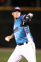 Rochester Red Wings relief pitcher Joe Nathan #47, on rehab assignment from the Minnesota Twins, delivers a pitch during a game against the Indianapolis Indians at Frontier Field on June 18, 2011 in Rochester, New York.  Rochester defeated Indianapolis 12-7 on Star Wars night where the team wore special jerseys.  (Mike Janes/Four Seam Images)