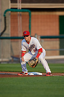 Auburn Doubledays first baseman Chance Shepard (34) during a game against the Connecticut Tigers on August 9, 2017 at Falcon Park in Auburn, New York.  Connecticut defeated Auburn 6-4.  (Mike Janes/Four Seam Images)