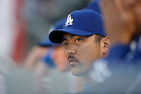 Takashi Saito of the Los Angeles Dodgers during a 2007 MLB season game at Dodger Stadium in Los Angeles, California. (Larry Goren/Four Seam Images)