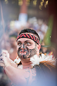 A Maori contestant with striking face paint participates at the fire ceremony at the first ever International Indigenous Games, in the city of Palmas, Tocantins State, Brazil. Photo © Sue Cunningham, pictures@scphotographic.com 22nd October 2015