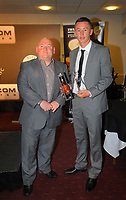 Pictured L-R: Huw Cooze of Visions Creative with Youth Development Player of the Year award winner. Thursday 10 May 2012<br /> Re: Swansea City FC awards dinner at the Liberty Stadium.