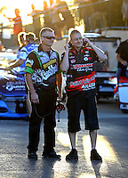 Jul 8, 2016; Joliet, IL, USA; Crew members for NHRA pro stock drivers Alex Laughlin (not pictured) and Drew Skillman (not pictured) during qualifying for the Route 66 Nationals at Route 66 Raceway. Mandatory Credit: Mark J. Rebilas-USA TODAY Sports