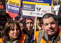 """London, 22/03/2014. """"Stand Up To Racism & fascism - No to Scapegoating Immigrants, No to Islamophobia, Yes to Diversity"""", national demo marking UN Anti-Racism Day organised by TUC (Trade Union Congress) and UAF (Unite Against Fascism).<br /> <br /> For more information please click here: http://www.standuptoracism.org.uk/"""
