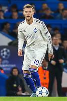 Andriy Yarmolenko of Dynamo Kyiv during the UEFA Champions League Group match between Chelsea and Dynamo Kyiv at Stamford Bridge, London, England on 4 November 2015. Photo by David Horn.