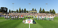 Starting eleven teams during national anthem. The Los Angeles Sol defeated FC Gold Pride, 2-0, at Buck Shaw Stadium in Santa Clara, CA on May 24, 2009.