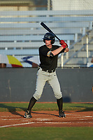 Michael Misenheimer (14) (Lenoir-Rhyne) of the Concord A's at bat against the Mooresville Spinners at Moor Park on July 31, 2020 in Mooresville, NC. The Spinners defeated the Athletics 6-3 in a game called after 6 innings due to rain. (Brian Westerholt/Four Seam Images)