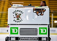 9 February 2020: One of the two University of Vermont Zamboni Vehicles treats the ice surface between periods of a game against the University of Connecticut Huskies at Gutterson Fieldhouse in Burlington, Vermont. The Lady Cats defeated the Huskies 6-2 in the second game of their weekend Hockey East series. Mandatory Credit: Ed Wolfstein Photo *** RAW (NEF) Image File Available ***