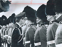 1979 FILE PHOTO - ARCHIVES -<br /> <br /> Prince Charles reviews Royal Regiment of Canada troops on arrival in Toronto.<br /> Bezant, Graham<br /> Picture, 1979, <br /> <br /> 1979,<br /> <br /> PHOTO : Graham Bezant - Toronto Star Archives - AQP