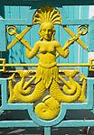 Mermaid design, Victorian on wrought iron garden gate. Wales. UK 2013,