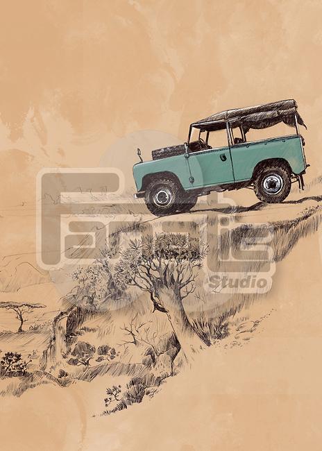 Illustrative image of SUV in remote area