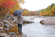 East Branch of the Pemigewasset River during the autumn months  Located along the Kancamagus Highway in Lincoln, New Hampshire USA.