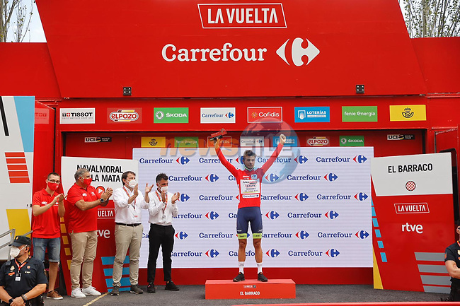 Race leader Odd Christian Eiking (NOR) Intermarché-Wanty-Gobert Matériaux retains the Red Jersey at the end of Stage 15 of La Vuelta d'Espana 2021, running 197.5km from Navalmoral de la Mata to El Barraco, Spain. 29th August 2021.     <br /> Picture: Luis Angel Gomez/Photogomezsport   Cyclefile<br /> <br /> All photos usage must carry mandatory copyright credit (© Cyclefile   Luis Angel Gomez/Photogomezsport)