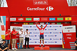 Race leader Odd Christian Eiking (NOR) Intermarché-Wanty-Gobert Matériaux retains the Red Jersey at the end of Stage 15 of La Vuelta d'Espana 2021, running 197.5km from Navalmoral de la Mata to El Barraco, Spain. 29th August 2021.     <br /> Picture: Luis Angel Gomez/Photogomezsport | Cyclefile<br /> <br /> All photos usage must carry mandatory copyright credit (© Cyclefile | Luis Angel Gomez/Photogomezsport)