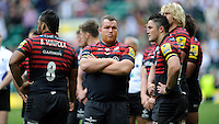 Matt Stevens of Saracens looks dejected at the end after losing the Aviva Premiership Rugby Final to Northampton Saints at Twickenham Stadium on Saturday 31st May 2014 (Photo by Rob Munro)