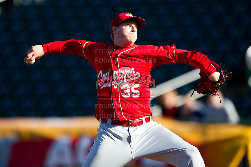 Ryan Daniels (35) of the Southern Illinois University- Edwardsville Cougars delivers a pitch during a game against the Missouri State Bears at Hammons Field on March 9, 2012 in Springfield, Missouri. (David Welker / Four Seam Images)
