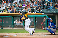 C.J. Cron (38) of the Salt Lake Bees hits a first pitch homerun at bat against the Oklahoma City Dodgers in Pacific Coast League action at Smith's Ballpark on May 27, 2015 in Salt Lake City, Utah.  (Stephen Smith/Four Seam Images)