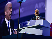 Washington, DC - March 2, 2020: U.S Senator Cory Booker addresses attendees of the AIPAC Policy Conference at the Washington Convention Center March 2, 2020.  (Photo by Don Baxter/Media Images International)