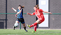 Angel Kerkhove (11) of Club Brugge picturedin a duel with Davinia Vanmechelen (25) of Standard  during a female soccer game between Club Brugge Dames YLA and Standard Femina de Liege on the 17 th matchday of the 2020 - 2021 season of Belgian Scooore Womens Super League , saturday 20 March 2021  in Brugge , Belgium . PHOTO SPORTPIX.BE   SPP   DAVID CATRY