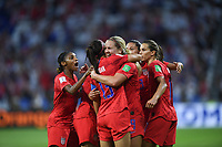 DECINES-CHARPIEU, FRANCE - JULY 02: The USWNT celebrate their victory over England during a 2019 FIFA Women's World Cup France Semi-Final match between England and the United States at Groupama Stadium on July 02, 2019 in Decines-Charpieu, France.
