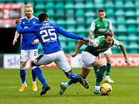26th September 2021;  Easter Road , Leith, Edinburg, Scotland; Scottish Premier League football, Hibernian versus St Johnstone; Martin Boyle of Hibernian spins past Efe Ambrose of St Johnstone