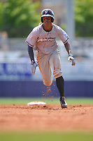 Northwest Arkansas Naturals Raul Mondesi (27) runs to third base during the game against the Tulsa Drillers at Oneok Stadium on May 1, 2016 in Tulsa, Oklahoma.  Northwest Arkansas won 7-5.  (Dennis Hubbard/Four Seam Images)